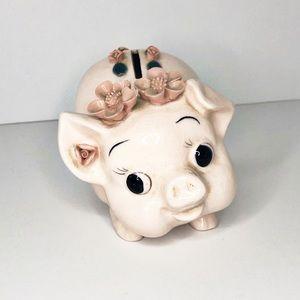 Vintage Retro Floral Piggy Pig Bank Nursery Decor